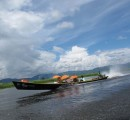 Myanmar Inle Lake boat with umbrelllas